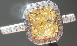 SOLD.....Halo Diamond Ring: 1.17ct Fancy Yellow Radiant VS2 GIA Uber Platinum Ring R3457