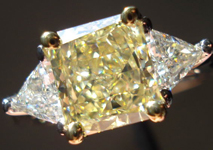 SOLD...Three Stone Diamond Ring: 1.37ct Fancy Yellow Radiant VS2 GIA Trilliant Side Stones R3458
