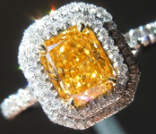 Orange Diamond Ring: .77ct Fancy Vivid Orange Yellow Radiant VS2 GIA Double Halo R3463