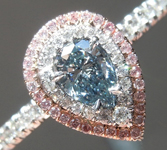 Halo Diamond Ring: .24ct Natural BLUE Pear Shape Diamond GIA Fancy Pink Ring R3478