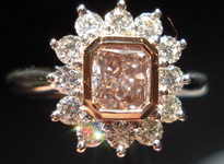SOLD....Halo Diamond Ring: .72ct Fancy Pinkish Brown in Handmade Platinum Ring FLOWER R3339