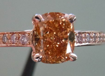 SOLD....Diamond RIng: .92 Fancy Deep Brown-Orange Cushion VS2 Diamond GIA Pink Gold Pink Diamonds  R3505