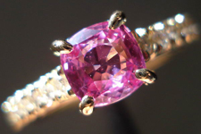 SOLD.....Sapphire and Diamond Ring: .89 Purple-Pink Cushion Electric Color R3326
