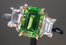 SOLD......Three Stone Ring: 1.16ct Emerald Cut Tsavorite and Trapezoidal Diamonds R3510