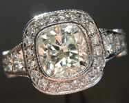 SOLD.......Diamond Ring: 1.12ct J VS2 Cushion Brilliant GIA Platinum Halo R3531