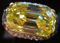 SOLD......BVLGARI 6.73ct Fancy Vivid yellow Internally Flawless Emerald Cut Ring R3534