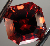 SOLD.....Loose Garnet: Precision Cut 4.56ct Malaya Garnet Asscher Cut Blood Red Color R3548
