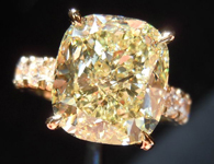 SOLD....Diamond Ring: 4.59ct Cushion Cut Fancy Light Yellow SI2 Diamond Studded Ring with Shaped Prongs R3566