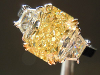 SOLD.....3 Stone Diamond Ring: 2.75ct Radiant Cut Fancy Lt Yellow IF Diamond GIA Amazing Sparkle R3562