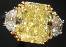 SOLD...Three Stone Diamond Ring: 5.32ct Fancy Light Yellow VVS2 Radiant Diamond GIA Platinum and 18K Yellow Gold R3565