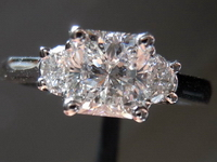 Three Stone Diamond Ring: 1.04ct Colorless Radiant Half moon sides white gold R3573