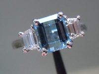 SOLD...SPECIAL PRICE Aquamarine and Diamond Ring: 1.72ct Emerald Cut Aquamarine Cool Look R2793