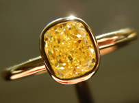 SOLD.....Diamond Ring: .83ct Cushion Cut Fancy Yellow VS2 GIA Bezel Set 18K Yellow Gold R3587