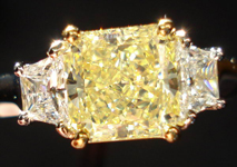 Three Stone Diamond Ring: 1.80ct Radiant Cut Fancy Yellow VVS2 GIA Platinum and 18K Yellow Gold R3311