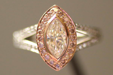 SOLD....Diamond Halo Ring: .58 K VS2 Marquise Pink Diamond Halo Trade Up Special R2173