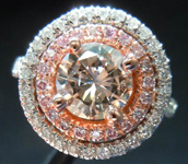 SOLD.....Diamond Halo Ring: 1.03ct Fancy Light Pinkish Brown Round Diamond SI2 GIA Double Halo Well Priced R3607
