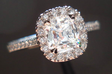 Halo Diamond Ring: .57ct D/IF Daussi Cushion Halo Ring GIA Perfection R3621