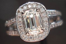 Diamond Halo Ring: .71ct I/VS1 Daussi Emerald Cut Diamond GIA Work of Art R3624