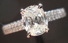 SOLD....Diamond Ring: .84ct I/VVS2 Daussi Cushion Diamond GIA Double Row Diamond Shank R3629