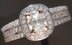 Diamond Halo Ring: .30ct H VS1 Daussi Cushion Diamond Triple Row Diamond Shank R3628