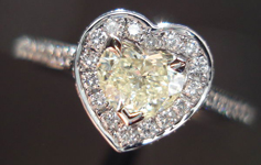 Diamond Halo Ring: .34ct M SI1 Daussi Heart Shape Diamond Lovely Cut R3626