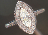 Diamond Halo Ring: .36ct K VS1 Daussi Marquise Diamond Beautiful Halo R3627