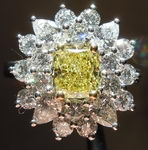 Halo Flower Diamond: 1.13ct Fancy Intense Yellow VS2 Cushion Handmade GIA R3617