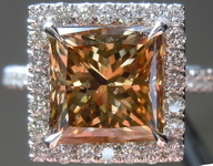 SOLD....Halo Diamond Ring: 3.50ct Yellow Brown Princess Cut Handmade Platinum R3632
