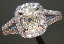 SOLD....Diamond Halo Ring: .51ct M SI1 Daussi Cushion Cut Diamond Split Shank Full of Sparkle R3633