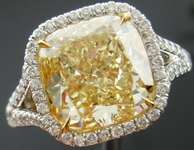 SOLD...Halo Diamond Ring: 4.62ct Fancy Light Yellow SI1 Cushion Diamond MICRO SET MASTERPIECE GIA R3636