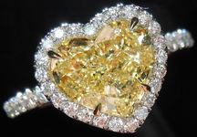 "SOLD....Diamond Ring: 2.10ct Heart Shape Fancy  Light Yellow SI1 GIA ""Uber"" Halo R3635"