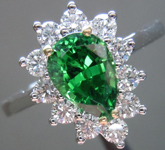SOLD....Tsavorite and Diamond Ring: 1.16ct Tsavorite Pear Shape Rich Green Color 18K Gold R3601