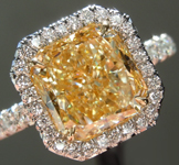Three Stone Diamond Ring: 3.08ct Radiant Cut Y-Z, Natural Light Yellow VS1 GIA Colorless Baguettes R3638