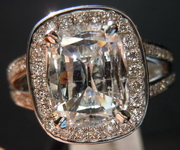 SOLD.....Halo Diamond Ring: Massive 2.02 Daussi Cushion Laser-Drilled Bargain in Platinum, R3640