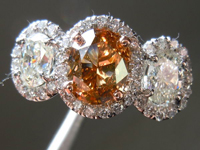 SOLD....Three Stone Ring: 1.39ct Fancy Orange Brown Oval Shape Diamond GIA Platinum Halo Ring R3605
