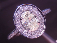 Diamond Halo Ring: .42ct L VS1 Daussin Oval Brilliant Diamond Soft Yellow Color R3644