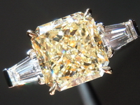 SOLD.....Diamond Ring: 3.20ct Radiant Cut W-X, Natural Light Yellow VS2 GIA Beautiful Stone R3650