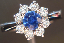 SOLD....Sapphire and Diamond Ring: .37ct Blue Round Brilliant Sapphire Lovely Color R3630