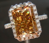 SOLD.....Halo Diamond Ring: 5.02ct Fancy Deep Brownish Yellow VVS2 Radiant Diamond GIA R3660