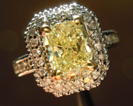 SOLD...Diamond Halo Ring: 1.54ct U-V, Natural Light Yellow Cushion Cut Diamond Stunning Ring R3619