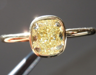 SOLD....Diamond Ring: 1.04ct Cushion Cut Fancy Light Yellow SI1 GIA 18kt Bezel Setting  R3663