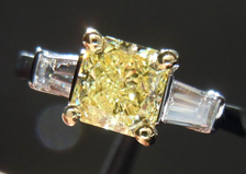 Three Stone Diamond Ring: 1.02ct Radiant Cut Fancy Yellow SI2 18K Gold with Baguettes R3665