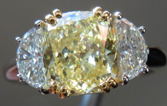 SOLD....Three Stone Ring: 1.59ct W-X, Natural Light Yellow Cushion Cut Diamond GIA Trade Up Special R1335