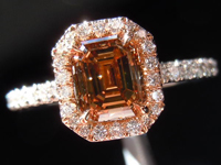 SOLD....Diamond Halo Ring: 1.12ct Fancy Deep Brown SI2 Emerald Cut Diamond Pink Gold Halo R3078