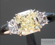 Three Stone Diamond Ring: 1.19ct Radiant Cut W-X, Natural Light Yellow SI1 GIA Half Moon Great Bargain R3662