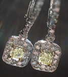SOLD....Diamond Halo Earrings: .90ctw Natural Light Yellow Radiant Diamond Dangle Halo R3576