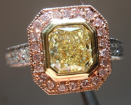 SOLD....Halo Diamond Ring: 1.16ct Radiant Cut Fancy Light Yellow VS2 GIA Pink Lemonade R3675