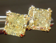 SOLD....Diamond Earrings: 1.36cts Fancy Light Yellow Radiant Cut Diamond 18Karat Yellow Gold Split Prong Studs