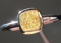 SOLD....Diamond Ring: .71ct Cushion Cut Fancy Light Yellow VS2 GIA 18K Yellow Gold R3712