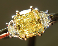 SOLD....Three Stone Diamond Ring: .89ct Cushion Cut Fancy Intense Yellow VS2 GIA Half Moon R3710
